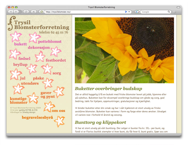 web design for trysilblomster.no