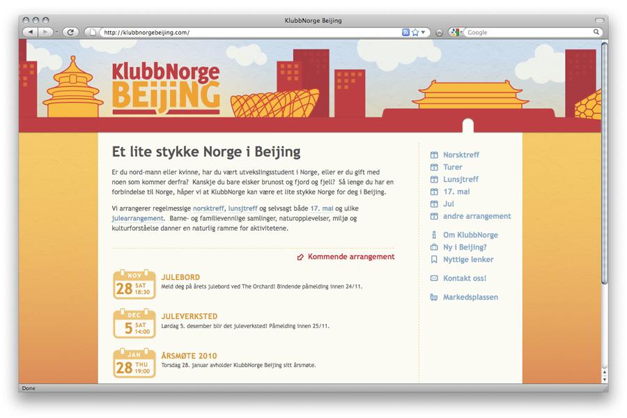 Webdesign KlubbNorge Beijing / crayoncrisis.com